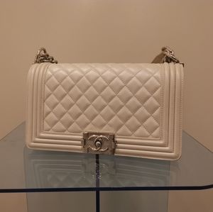 CHANEL Bags - Chanel Pearl white Le boy bag size medium
